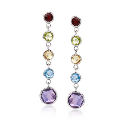 4.30 ct. t.w. Bezel-Set Multi-Stone Drop Earrings in Sterling Silver