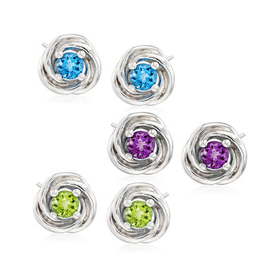 3.10 ct. t.w. Multi-Stone Jewelry Set: Three Pairs of Earrings in Sterling Silver, , default