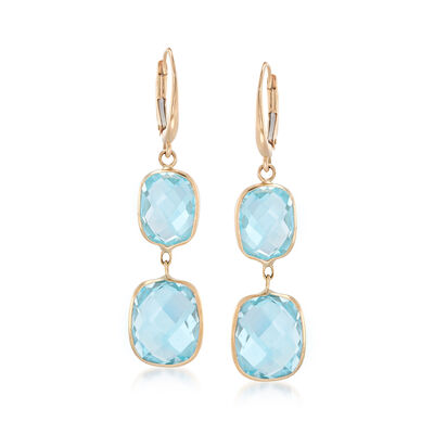 20.00 ct. t.w. Blue Topaz Drop Earrings in 14kt Yellow Gold , , default