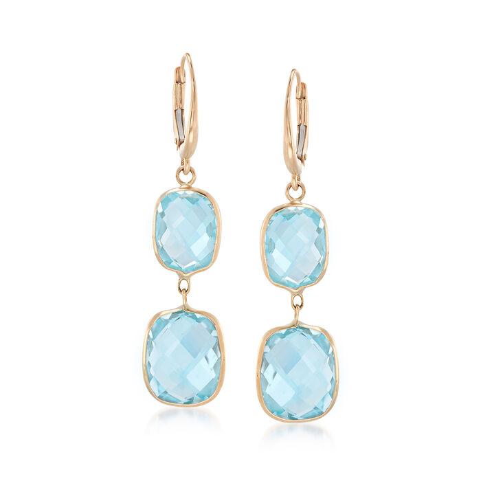 20.00 ct. t.w. Blue Topaz Drop Earrings in 14kt Yellow Gold, , default