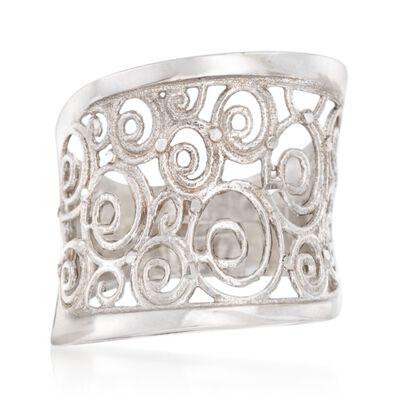 Italian Sterling Silver Openwork Swirl Ring, , default