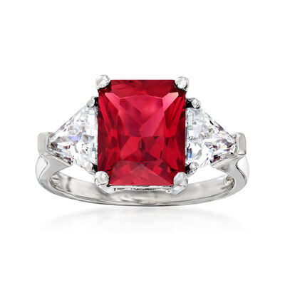 4.25 Carat Simulated Ruby and 1.20 ct. t.w. CZ Ring in Sterling Silver