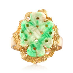 """C. 1980 Vintage Carved Green Jade Ring in 14kt Yellow Gold. 7.5"""", , default"""