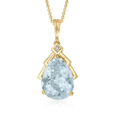 C. 1980 Vintage 9.80 Carat Blue Quartz Pendant Necklace with Diamond Accent in 14kt Yellow Gold