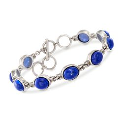 "Blue Lapis Bracelet in Sterling Silver. 7"", , default"