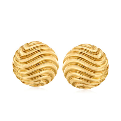 Italian 18kt Yellow Gold Ribbed Dome Clip-On Earrings, , default