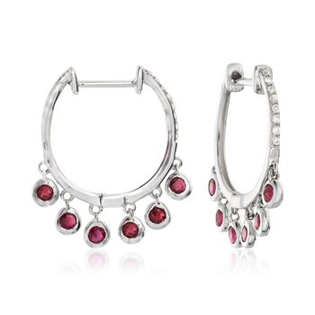 """.50 ct. t.w. Bezel-Set Ruby Hoop Earrings With Diamond Accents in 14kt White Gold. 5/8"""", , default"""