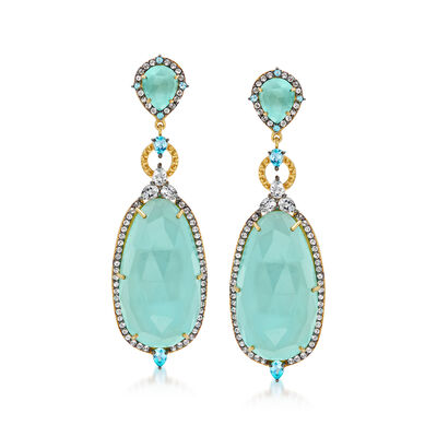 Aqua Chalcedony and 2.60 ct. t.w. Blue and White Topaz Drop Earrings in 18kt Gold Over Sterling, , default