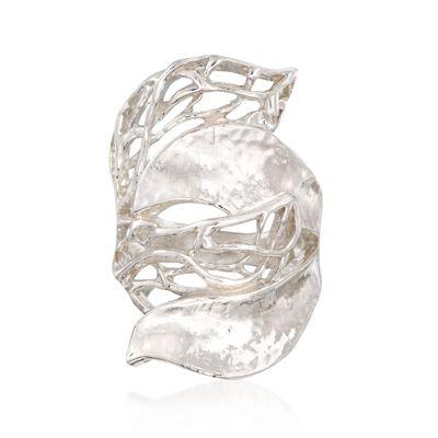 Sterling Silver Hammered Statement Ring, , default