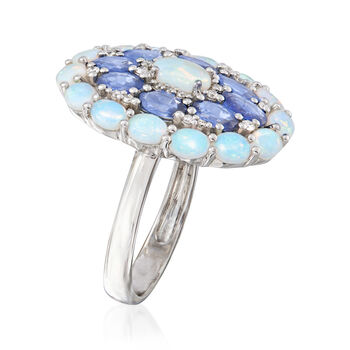 Opal, 2.00 ct. t.w. Sapphire and .14 ct. t.w. Diamond Ring in 18kt White Gold