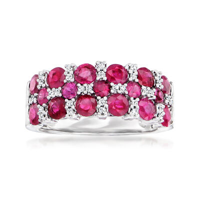 C. 1990 Vintage 2.50 ct. t.w. Ruby and .16 ct. t.w. Diamond Ring in 14kt White Gold