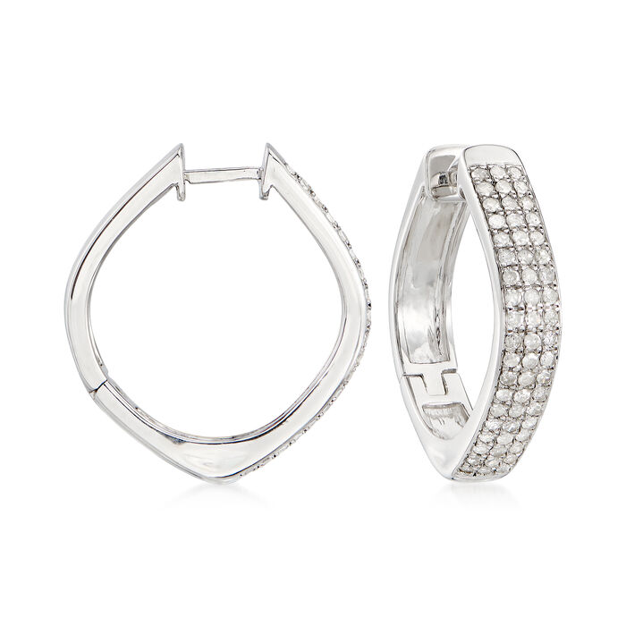 1.00 ct. t.w. Pave Diamond Triple-Row Hoop Earrings in Sterling Silver. 1""