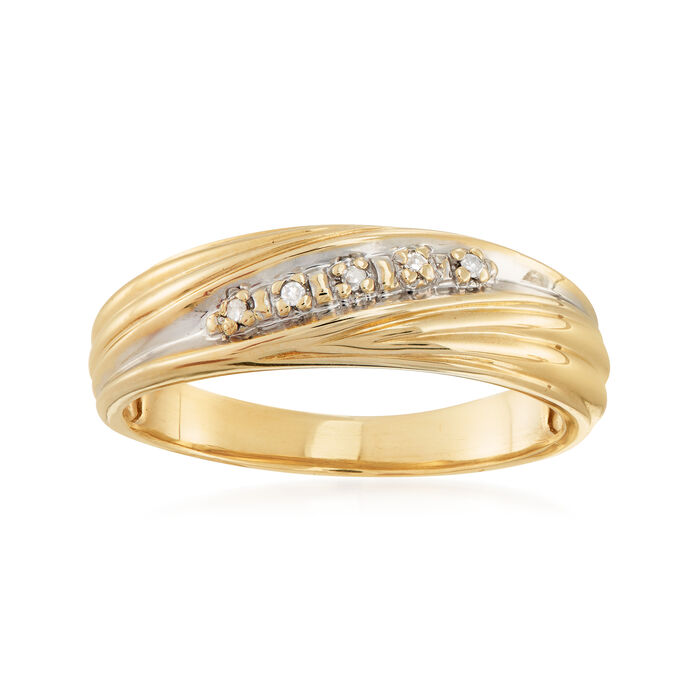 C. 1980 Vintage Diamond-Accented Diagonal-Style Ring in 10kt Yellow Gold. Size 8