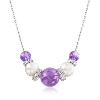 "6-10mm Graduated Amethyst Bead and 8-8.5mm Cultured Pearl Necklace With .37 ct. t.w. Diamonds in Sterling. 16"", , default"