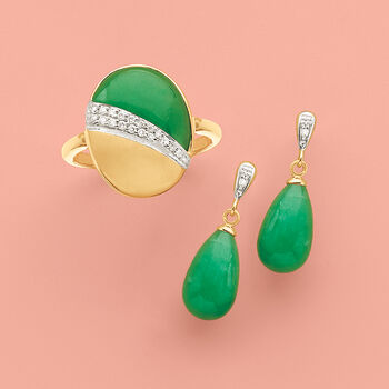 Jade Teardrop Earrings with Diamond Accents in 14kt Yellow Gold