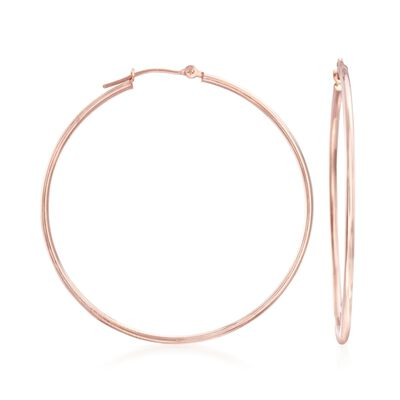 1.5mm 14kt Rose Gold Large Hoop Earrings, , default