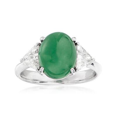 C. 1980 Vintage Jade and .67 ct. t.w. Diamond Ring in Platinum