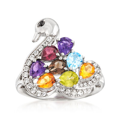 2.70 ct. t.w. Multi-Gemstone Swan Ring in Sterling Silver