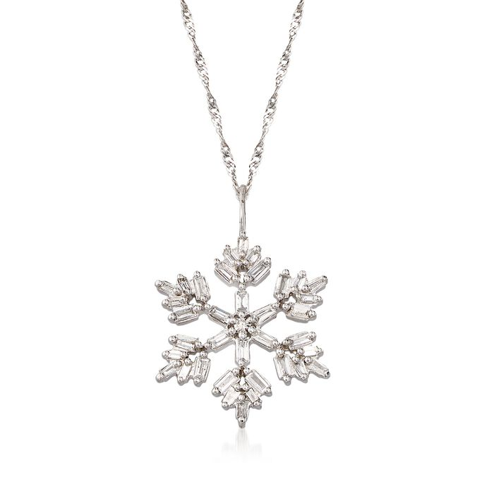 .36 ct. t.w. Diamond Snowflake Adjustable Pendant Necklace in 14kt White Gold