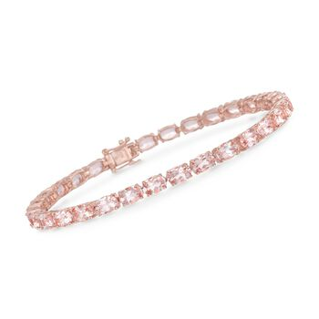 "12.00 ct. t.w. Morganite Tennis Bracelet in 18kt Rose Gold Over Sterling Silver. 7.25"", , default"