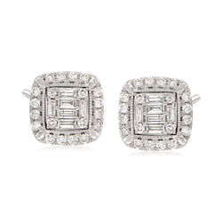 1.03 ct. t.w. Diamond Frame Stud Earrings in 14kt White Gold, , default