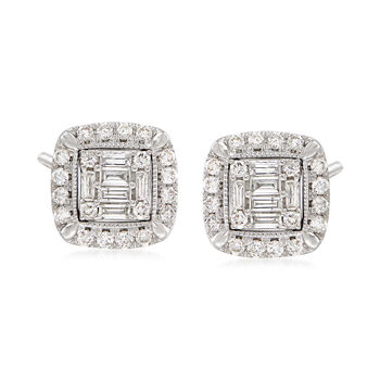 1.03 ct. t.w. Diamond Frame Stud Earrings in 14kt White Gold , , default