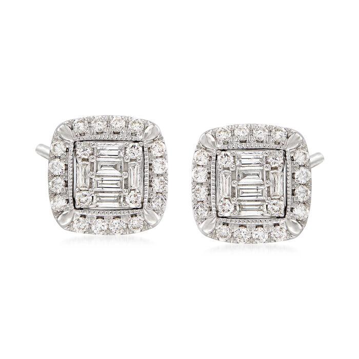 1.03 ct. t.w. Diamond Frame Stud Earrings in 14kt White Gold , , default