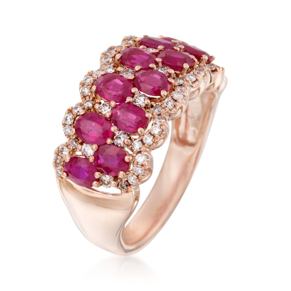 2.50 ct. t.w. Ruby and .45 ct. t.w. Diamond Ring in 14kt Rose Gold ...