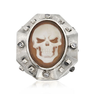 Italian .10 ct. t.w. CZ Skull Cameo Ring in Sterling Silver, , default
