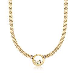 "C. 1980 Vintage .96 ct. t.w. Floating Multi-Stone Necklace in 18kt Yellow Gold. 17.75"", , default"