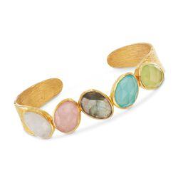 "Multi-Stone Cuff Bracelet in 18kt Gold Over Sterling. 7.5"", , default"