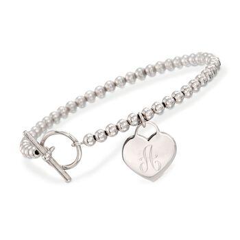 Italian Sterling Silver Personalized Heart Bracelet, , default