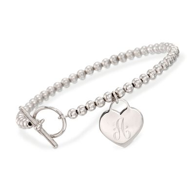 Italian Sterling Silver Personalized Heart Bracelet, , default