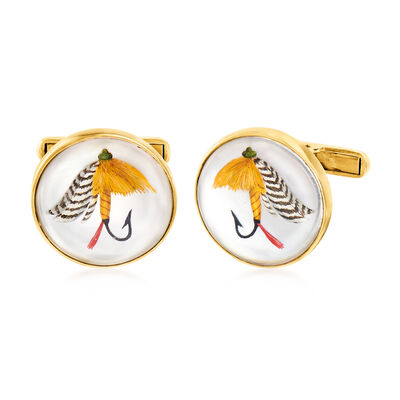 C. 1960 Vintage Mother-Of-Pearl Fly-Fishing Cuff Links in 14kt Yellow Gold