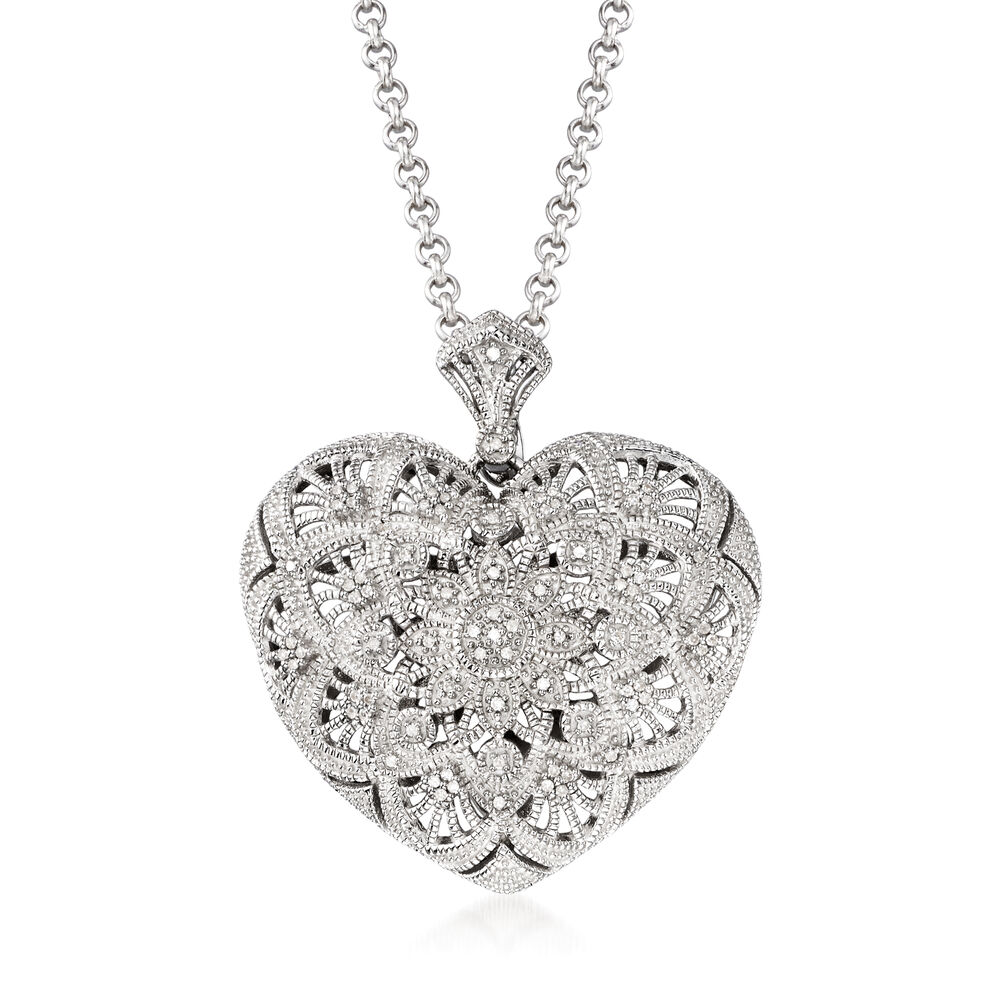 25 ct tw diamond filigree heart pendant necklace in sterling tw diamond filigree heart pendant necklace in sterling silver 18quot aloadofball Image collections