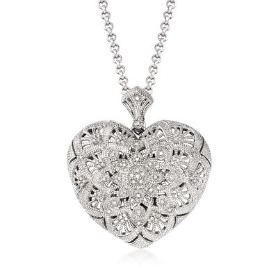 .25 ct. t.w. Diamond Filigree Heart Pendant Necklace in Sterling Silver, , default