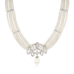 C. 2000 Vintage 2.5-3mm and 12x9.9mm Cultured Pearl Choker Necklace With Diamonds in 14kt White Gold, , default