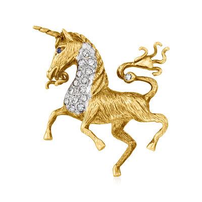 C. 1970 Vintage .33 ct. t.w. Diamond Unicorn Pin in 14kt Two-Tone Gold