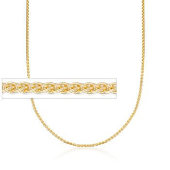 """2mm 14kt Yellow Gold Round Wheat Chain Necklace. 18"""", , default"""
