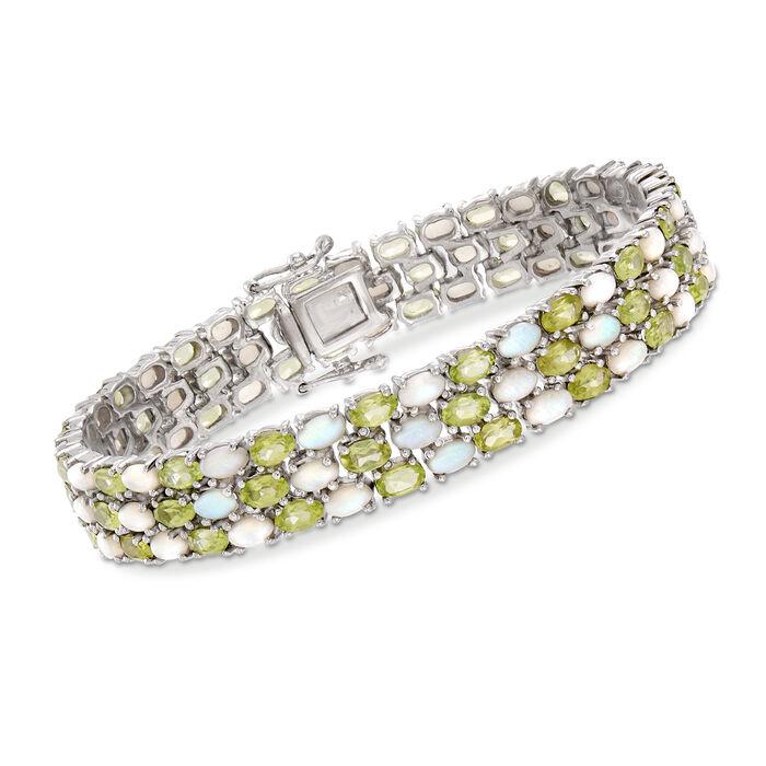 """12.00 ct. t.w. Peridot and Opal Bracelet in Sterling Silver. 7.5"""""""