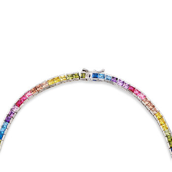 """20.00 ct. t.w. Rainbow CZ Tennis Necklace in Sterling Silver. 20"""""""