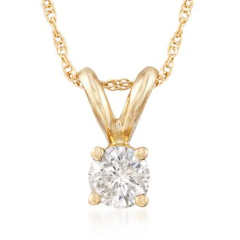 """.25 Carat Diamond Solitaire Necklace in 14kt Yellow Gold. 18"""", , default"""