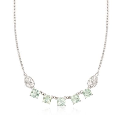 9.50 ct. t.w. Green Prasiolite  Necklace with Scrolled Sides in Sterling Silver, , default