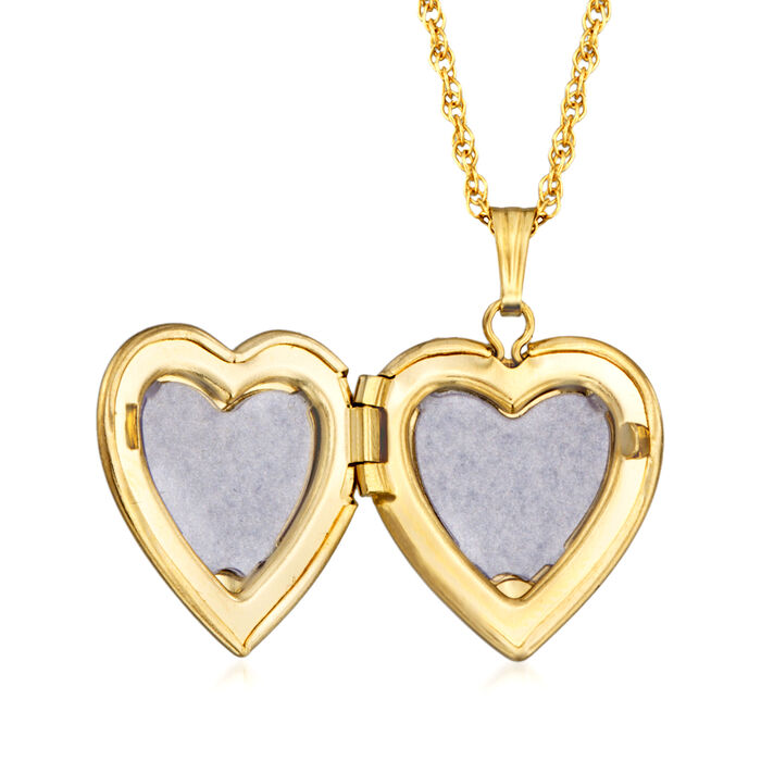 14kt Yellow Gold Single Initial Heart Locket Necklace