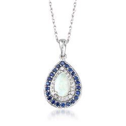"Opal and .40 ct. t.w. Sapphire Pendant Necklace With Diamonds in 14kt White Gold. 18"", , default"
