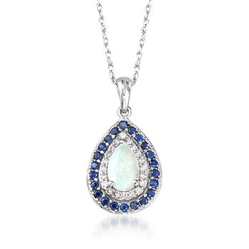 """Opal and .40 ct. t.w. Sapphire Pendant Necklace With Diamonds in 14kt White Gold. 18"""", , default"""