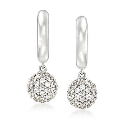 """Belle Etoile """"Lunetta"""" .30 ct. t.w. CZ Drop Earrings in Sterling Silver, , default"""