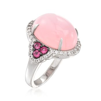 Pink Chalcedony and .40 ct. t.w. Rhodolite Ring With White Topaz in Sterling Silver, , default