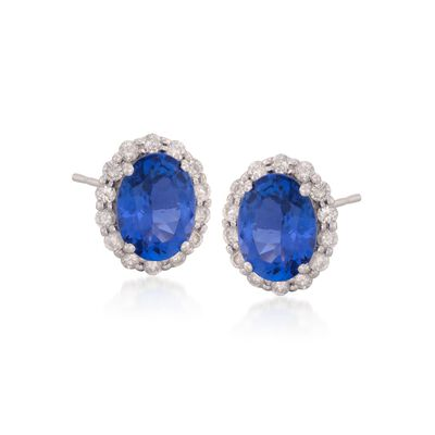 2.64 ct. t.w. Tanzanite and .48 ct. t.w. Diamond Stud Earrings in 14kt White Gold, , default