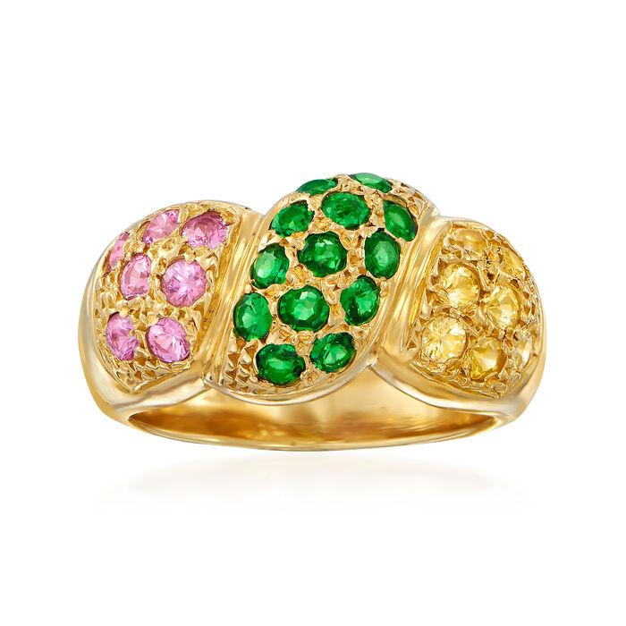C. 1990 Vintage 75.00 ct. t.w. Tsavorite and 1.30 ct. t.w. Multicolored Sapphire Ring in 18kt Yellow Gold. Size 6.5